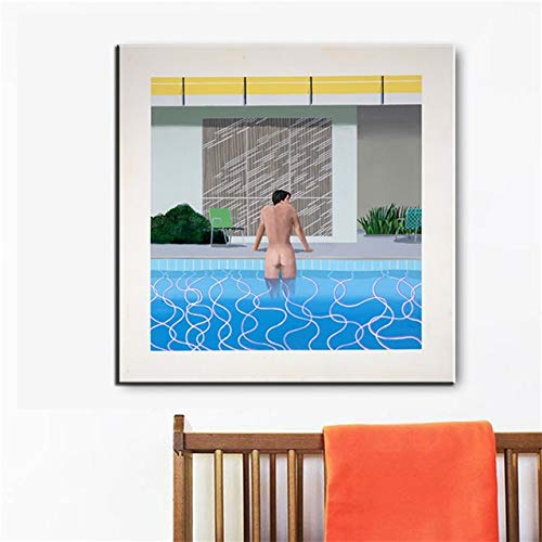 LKJHGU Sin Marco Pintura de fama Mundial Pintor Famoso David Hockney Personaje natacin Salpicaduras Artista decoracin del hogar Cartel Pared Lienzo Sala de Estar