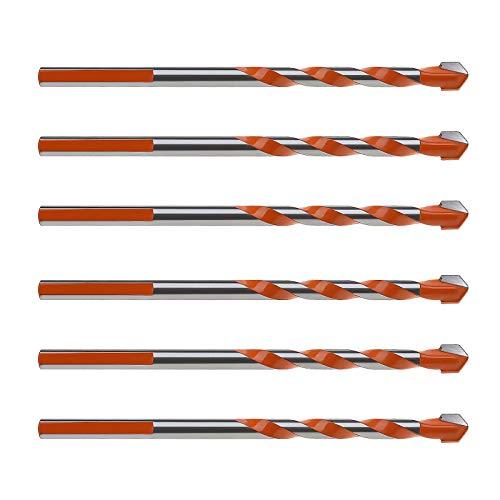 10 x 6 mm Fliesenbohrer, Hartmetall-Spiralbohrerspitze, multifunktional für Fliesen, Keramik, Beton, Marmor, Ziegel, Glas, Kunststoff, Holz