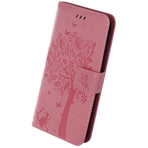 Herbests Kompatibel mit Sony Xperia 20 Handyhülle Leder Hülle Vintage Motiv Muster Schmetterling Baum Katze Leder Flip Schutzhülle Tasche Wallet Book Case Kartenfach Standfunktion,Rosa