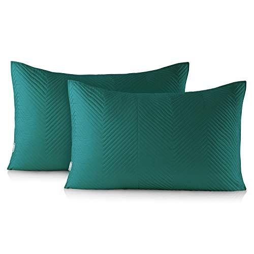 DecoKing - Juego de 2 fundas de almohada (50 x 70 cm), color verde oscuro