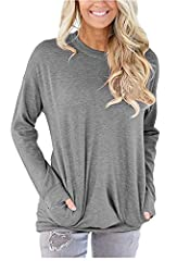 Material: 35%Cotton+60%Polyester+5%Spandex,Super Soft,Comfy and Close to Your Skin Designs:Solid Color,Round Neck,Long Sleeves,Side Pockets,Casual Chic Style,Reduce Body Bearing,Shows Good Figure Great for leggings,suitable for daily life, party, bea...