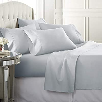 6 Piece Hotel Luxury Soft 1800 Series Premium Bed Sheets Set, Deep Pockets, Hypoallergenic, Wrinkle & Fade Resistant Bedding Set(Queen, Ice Blue)