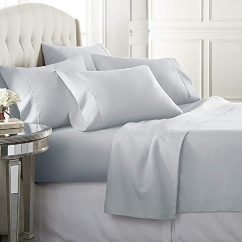Danjor LinensQueenSize Bed Sheets Set - 1800 Series6 Piece Bedding Sheet & Pillowcases Sets w/ Deep Pockets - Fade Resistant & Machine Washable -Ice Blue