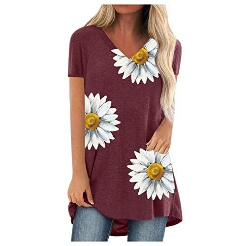 ZouYiL - Camiseta de verano de manga corta para mujer, cuello en V, estilo informal, holgada, para correr, túnica, cómoda, monocromática #07/Vino M
