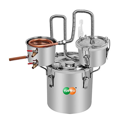 YUEWO 3 Pots DIY 5Gal/20Litres Moonshine Still Copper Water Alcohol Distiller Home Brew Wine Making Kits with Thumper Keg for DIY Brandy Whisky Wine Essential Oils
