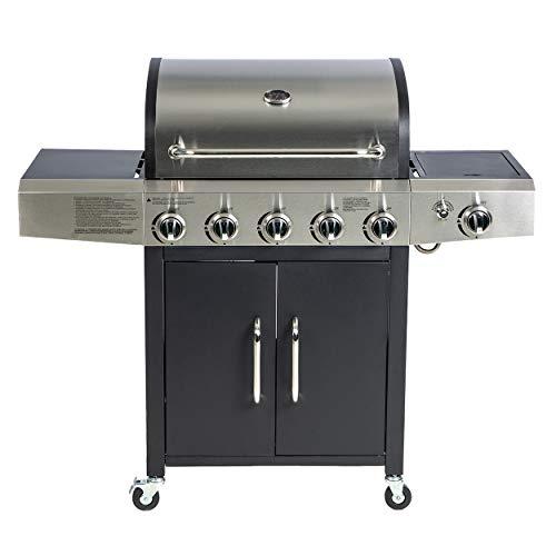Enrico Coveri Barbecue a Gas Rettangolare 5 Fuochi con Bruciatore Laterale, Coperchio e 2 Ripiani, Perfetto per Terrazzo, Balcone E Giardino