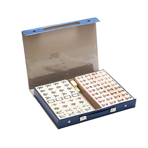 Juego de fichas de Mahjong chino Juego de Juego de Mahjong Chino con MAHJONG MAT, Melamine Mahjong con caja de almacenamiento para juegos de juego de estilo chino (144 azulejos de tamaño mediano, 3 da