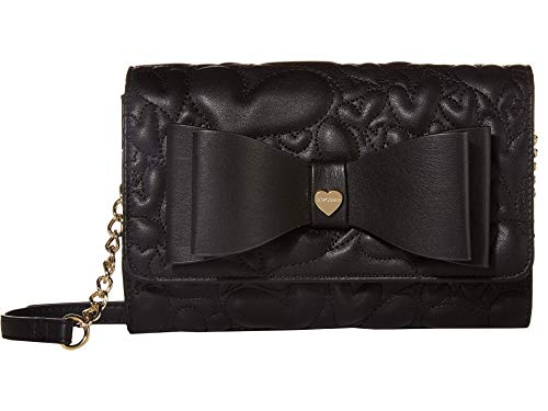 Betsey Johnson Wallet on A String Crossbody with Bow Black One Size