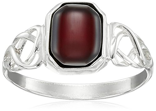 Kirschrot Amber Sterling Silver Keltischer Design Ring