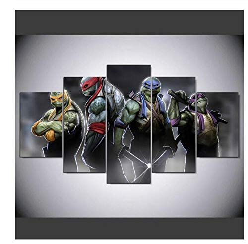 ZKPGUA Prints on Canvas 5 Pieces Teenage Mutant Ninja Turtles Posters Hd Printed Paintings Modern Home Decor Wall Art Modular Pictures (Size A) No Frame