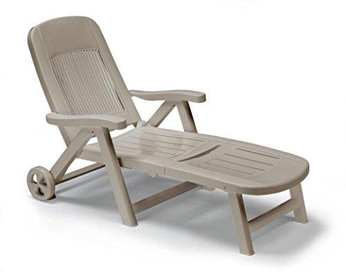 ArredinItaly – Chaise longue pliante avec roues, en technopolymère taupe – Dossier réglable – 100 % fabriqué en Italie