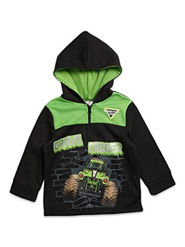 Monster Jam Sudadera con capucha de forro polar y media cremallera, color negro/verde - - 24 meses