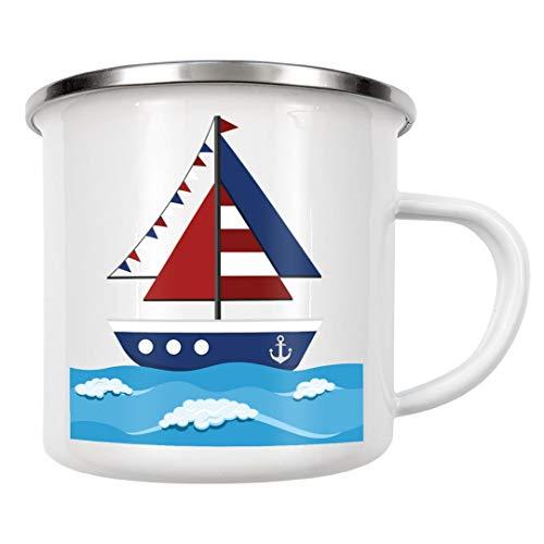 artboxONE Emaille Tasse Segelboot/Segelschiff von Andrea Stiegler - Emaille Becher Natur