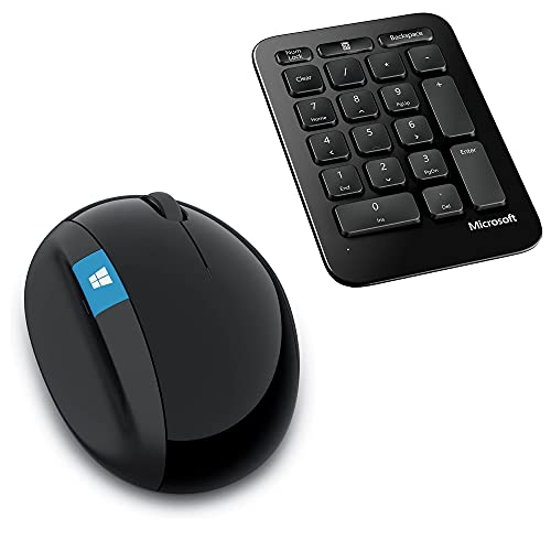 Microsoft Sculpt Ergonomic Wireless Mouse, Includes Separate Wireless Number Pad for Business and Workspace - Bulk Packaging - Black