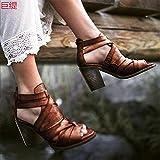 DZQQ Zapatos de Mujer, Sandalias de Cuero con Tiras de Verano para Mujer, Sandalias de cuña para Mujer, Zapatos Informales con Punta Abierta y Tobillo de Talla Grande 35-43
