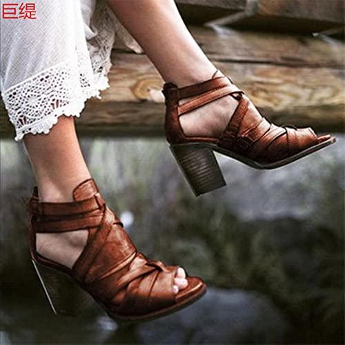DZQQ Chaussures pour Femmes Bretelles d'été en Cuir Femmes Sandales compensées Sandales Femme Plate-Forme Bout Ouvert Cheville Chaussures décontractées Grande Taille 35-43