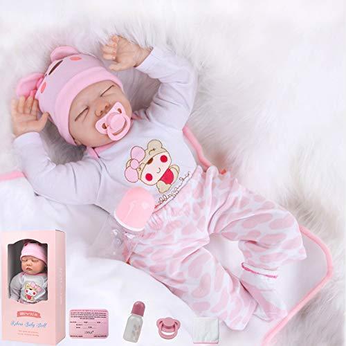 ZIYIUI Reborn Baby-Puppe 22Zoll 55cm Weiches Vinylsilikon Realistisch Baby Puppe lebensecht Reborn Baby Mädchen Handgemacht Neugeborene Echte Babypuppe