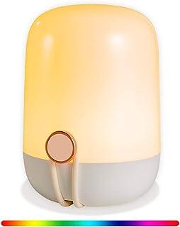 Feekass Lampe de chevet lampe de bureau USB rechargeable lumière 6 couleurs chambre à coucher veilleuse portable veilleuse...
