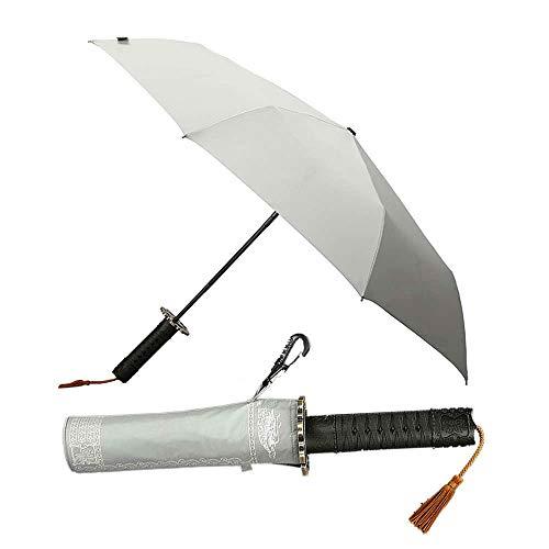 Folding Mann Automatische Regenschirm Regen Frauen Japanischen Samurai Schwert Messer Regenschirm Winddicht Kreative Weiblich Männlich Auto Große Sonnenschirm grau