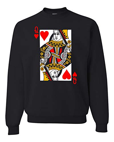 Go All Out X-Large Black Adult Queen Of Hearts Playing Card Funny Sweatshirt Crewneck
