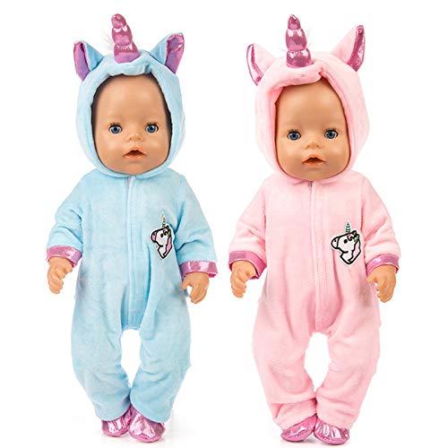 Amycute 43 cm la Ropa de la Muñeca del Traje del Unicornio con los Zapatos para Las Muñecas del Bebé Recién Nacido Girl Doll del Bebé(Rosa) (Rosa) (Azul Y Rosa)