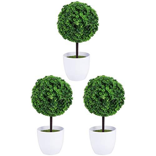 Homoyoyo 3 Piezas Pequeñas Plantas Artificiales Mini Falso Boj Topiario Decoración del Árbol Bola Artificial en Forma de Árbol Bonsai Hierba Bola Verde en Macetas para La Oficina en Casa