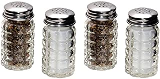 Retro Style Salt and Pepper Shakers with Stainless Tops (4)