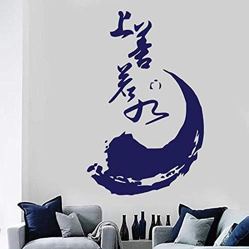 Aplique De Vinilo Grande, Iluminación Circular Inacabada, Pegatinas De Pared Extraíbles, Meditación, Proverbio Budista Chino Zen, Azul 57X36 Cm