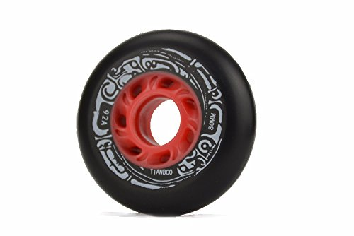 SzBlaZe PU 92A Low Grip Slide Inline Roller Skate Replacement Wheels (Pack of 4 Wheels Without Bearings) Size 72mm and 76mm and 80mm for Wave Board Caster Board Street Surf (Black, 76mm)