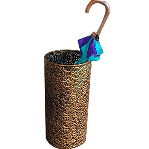 XM&XN Vintage-Stil Schirmständer,europäischer Stil Hohle Regenschirmständer,runde Eisen 100% Metal Regenschirm Rack,frei Stehende Regenschirm Halterung Rack-Messing 23x23x50cm(9x9x20)