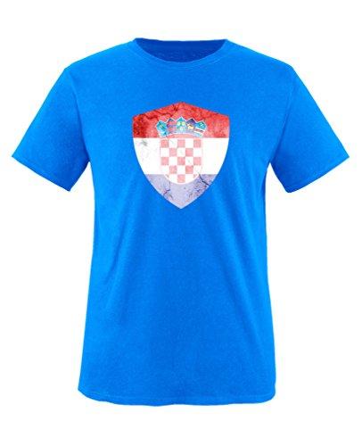 Comedy Shirts - Kroatien Trikot - Wappen: Groß - Wunsch - Kinder T-Shirt - Royalblau/Weiss Gr. 122-128