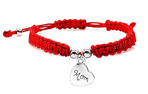 Armband - hart armband - gevlochten - moeder - rood - multiwire - zilver - verstelbaar - kerstmis - origineel cadeau idee - sieraden - verjaardag mom