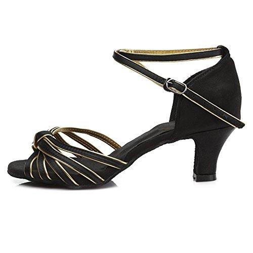HROYL Mujer Zapatos de Baile Latino/Moderno/Samba/Chacha para Mujer Satin Zapatos de Baile de Salón ES217