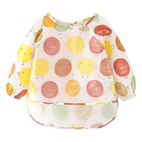 Happy Cherry - Delantal Impermeable para Infantiles Babero de Alimentación con Patrón Lindos para Guadería Jugar para Bebés de 1-2 Años