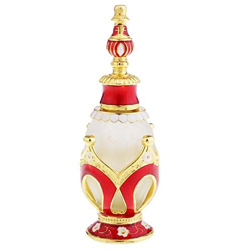 MagiDeal Bouteilles de Parfum Antique Ronde Bouteilles d'Huile Essentielle à Collectionner 15ML - Rouge