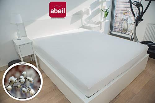 Abeil matrasbeschermer, 100% katoen, PU, waterdicht 90 x 190 cm Wit.