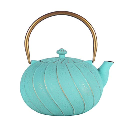 Cast Iron Tea Kettle, Japanese Tetsubin Teapot Coated with Enameled Interior, Durable Cast Iron Teapot with Stainless Steel Infuser (Blue-green Spiral pattern, 1200ml/40.5oz)