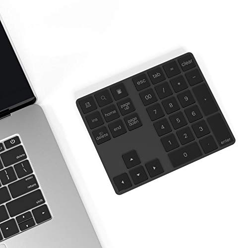 Ketaky Bluetooth Numeric Keypad with Multiple Shortcuts 34-Keys Number Pad Wireless Portable Slim Number Pad for iPad/Laptop/PC Compatible with Windows Android iOS System