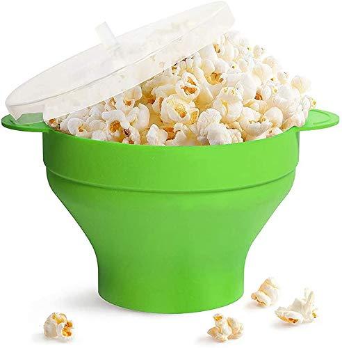 Ciotola Pieghevole per Popcorn a microonde Ciotola per Popcorn ad Aria Calda Popper Contenitori per Ciotola con Coperchio e Manici Macchina per Popcorn in Silicone (Green)