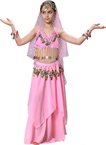 Pink Genie Costume Kids Girls Gypsy Halloween Costume 4T 4 5 6 7 8 10 12 14 16 Pink