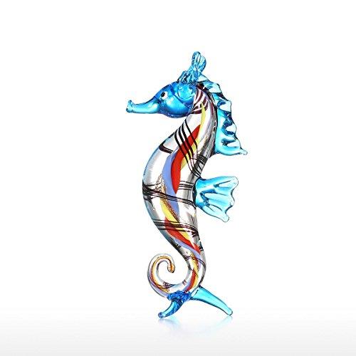 Tooarts Glasskulptur Dekofigur Tier Skulptur aus Glas Handarbeit Kleines Seepferdchen