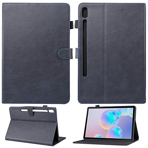 GHC PAD Cases & Covers For Samsung Galaxy Tab S6 10.5 2019 Case Auto Sleep Wake Smart Case Retro PU Leather Flip Stand Cover For Samsung Galaxy Tab S6 SM-T860 SM-T865 (Color : Blue A)