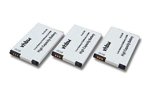 vhbw 3X Li-Ion Akku 950mAh (3.7V) für schnurlos Festnetz Handy Siemens Unify OpenStage SL4, OpenScape DECT Phone SL5 wie 4250366817255.