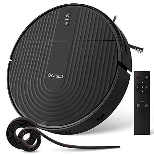 GoKoCo Robot Vacuum Cleaner,Upgraded Self-Charging Vacuum with Boundary Strips,2000Pa Strong Suction,130 mins Runtime, Slim and Quiet Smart Robot for Pet Hair, Hard Floor, Carpets,Remote Control