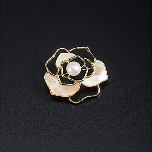 yuge Elegante broche de camelia para mujer, elegante broche de perlas naturales franceses románticos hombres negocios formal broche plata 925 blanco