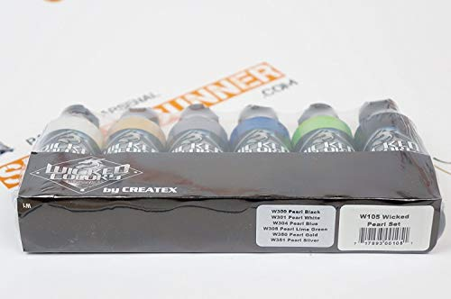 Createx Wicked Colors Pearl Set Airbrush Paint Water Based 6 2oz W105