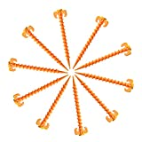 Holanper Tent Stakes, 10 Pcs Tent Pegs Canopy Stakes Heavy Duty Screw Shape Beach Tent Stakes Durable Ground Anchor Nail for Camping, Rain Tarps, Hiking,Gardening(7.9 inch)