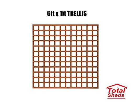 Total Sheds 6x1 Pack Of x5 (1.83m x 0.30m) 6ft x 1ft Wooden Square Trellis Fence Panels