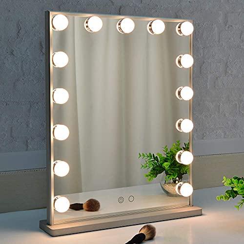 BEAUTME - Espejo de tocador estilo Hollywood con luces regulables, para mesa o de pared