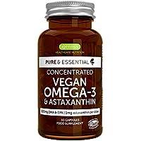 Pure & Essential Omega-3 de Aceite de Algas Vegano (DHA + EPA 600 mg) y Astaxantina, 60 cápsulas